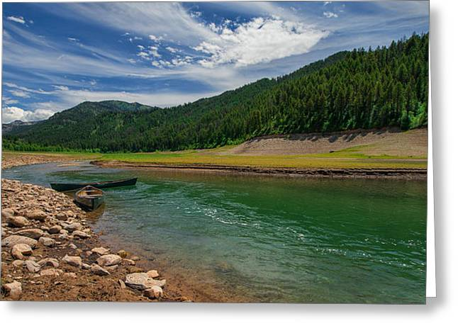 Green Canoe Greeting Cards - Big Elk Creek Greeting Card by Chad Dutson