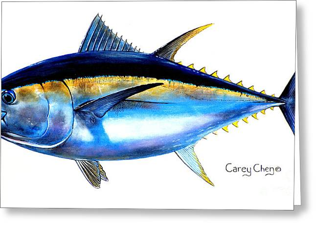 Pez Vela Paintings Greeting Cards - Big Eye Tuna Greeting Card by Carey Chen