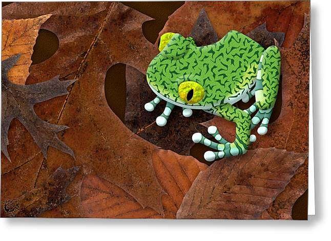 Fallen Leaf Mixed Media Greeting Cards - Big-Eyed Tree Frog Greeting Card by Stephen Kinsey