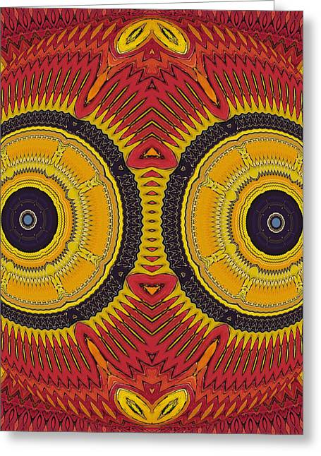 Psychedelic Owl Greeting Cards - Big Eyes Owl Greeting Card by Marcela Bennett