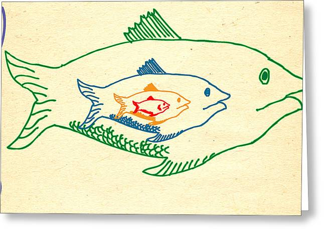 Parable Greeting Cards - Big Fish Eat Little Fish Greeting Card by