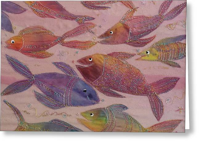 Little Tapestries - Textiles Greeting Cards - Big fish Little fish Greeting Card by Hazel Millington