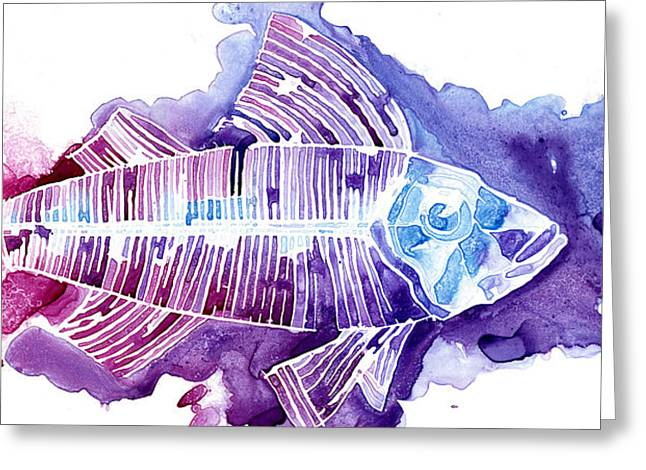 Wet On Wet Paintings Greeting Cards - Big Fish Greeting Card by Mike Lawrence