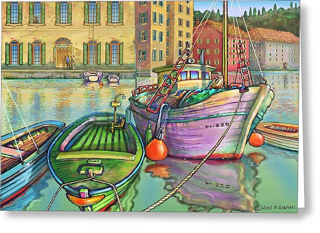 1987 Paintings Greeting Cards - Big Fishing Boat Greeting Card by Philip Gianni
