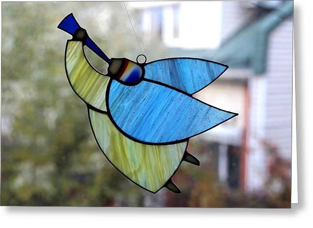 Star Glass Art Greeting Cards - Big Flying Angel Greeting Card by Alena Kogan