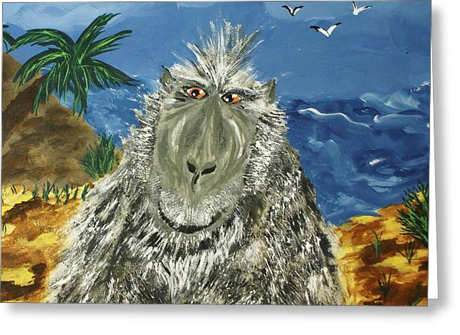 Yeti Greeting Cards - Big Foot of the Hatch Greeting Card by Debbie May