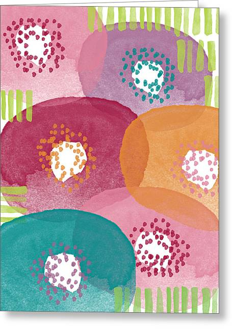 Striped Mixed Media Greeting Cards - Big Garden Blooms- abstract florwer art Greeting Card by Linda Woods