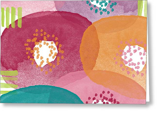 Big Garden Blooms- abstract florwer art Greeting Card by Linda Woods