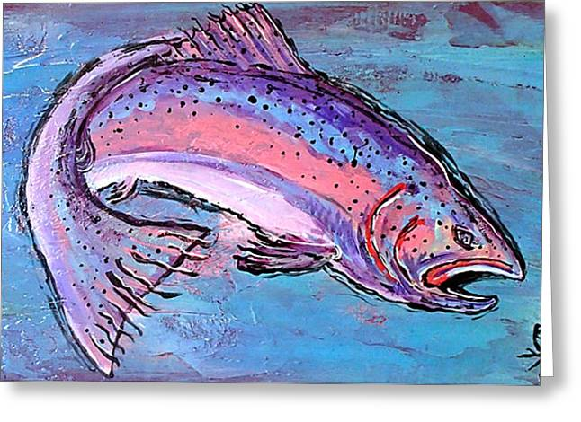 Rainbow Trout Greeting Cards - Big Gulp Greeting Card by Owl Jones
