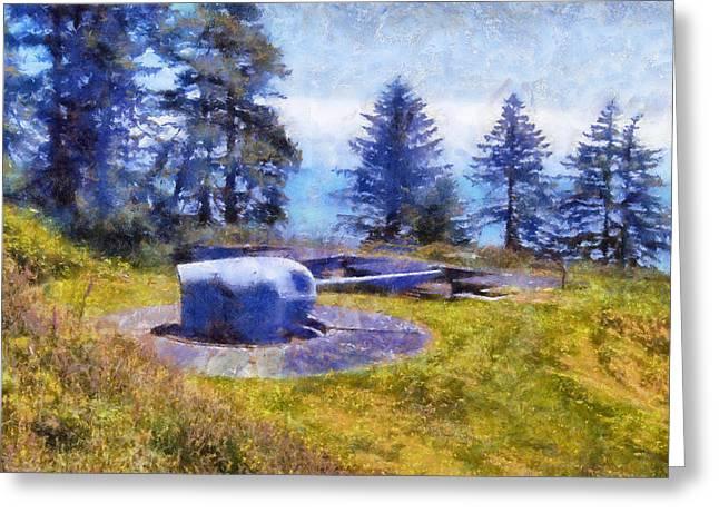 Lewis Gun Greeting Cards - Big Gun at Chinook Point Greeting Card by Kaylee Mason