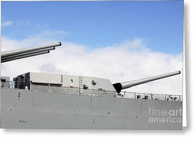 16 Inch Guns Greeting Cards - Big Guns on USS Missouri Greeting Card by Jan Tyler