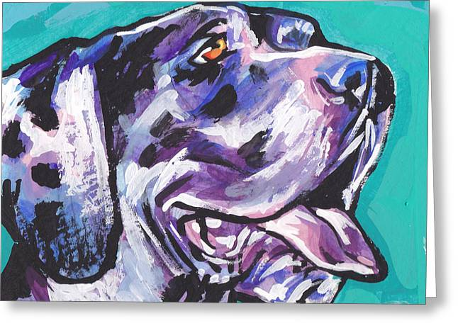 Harlequin Great Dane Puppies Greeting Cards - Big Harley Quin Greeting Card by Lea