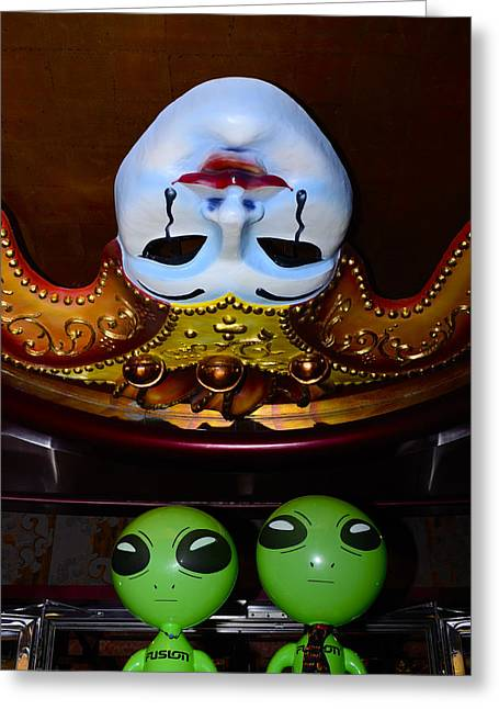 Carnival Dream Greeting Cards - Big Heads Wierd Faces Greeting Card by Richard Henne