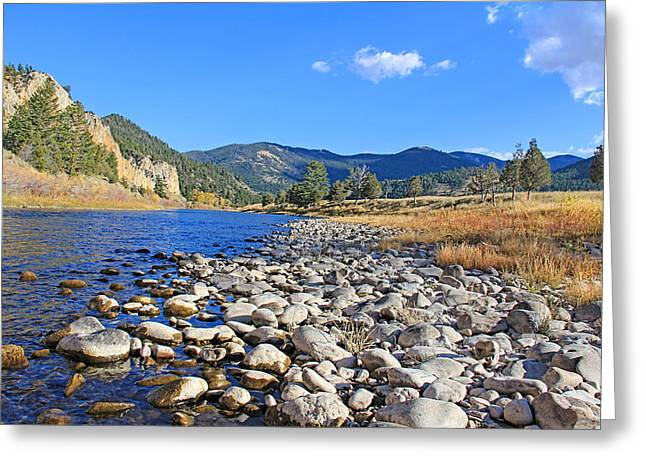 Fir Trees Greeting Cards - Big Hole River Rocks Montana Greeting Card by Jennie Marie Schell