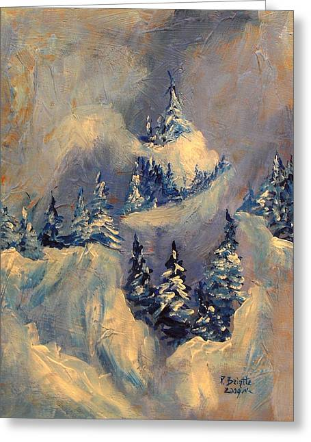 Skiing Christmas Cards Greeting Cards - Big Horn Peak Greeting Card by Patricia Brintle
