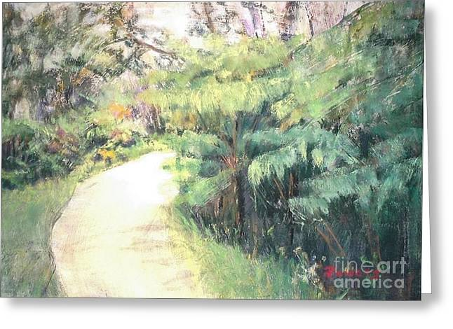 Pathway Pastels Greeting Cards - Big Island Pathway Greeting Card by Mary Lynne Powers
