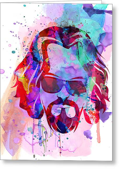 Shows Greeting Cards - Big Lebowski Watercolor Greeting Card by Naxart Studio
