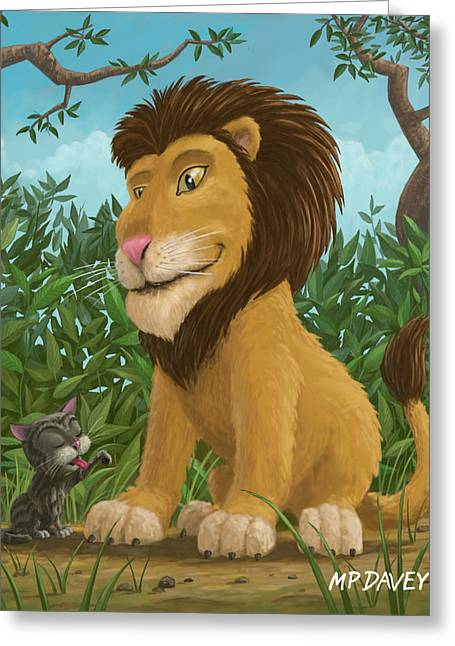 Cute Kitten Greeting Cards - Big Lion Small Cat Greeting Card by Martin Davey