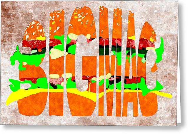 Fast Food Mixed Media Greeting Cards - Big Mac Typography Greeting Card by Daniel Janda
