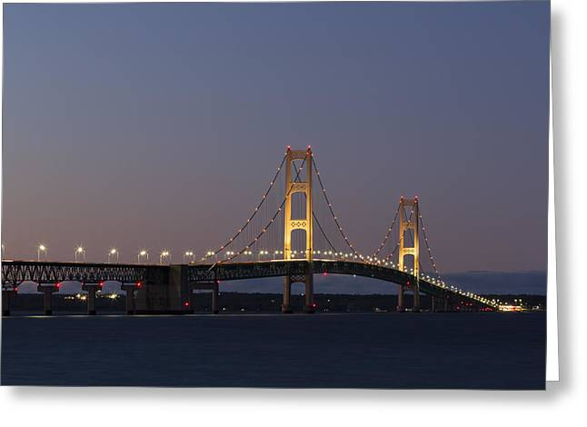 Illuminate Greeting Cards - Big Mackinac Bridge 54 Greeting Card by John Brueske