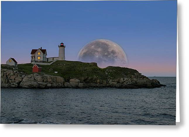 Cape Neddick Greeting Cards - Big moon over Nubble Lighthouse Greeting Card by Jeff Folger