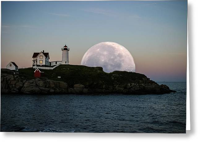 Landscape Posters Greeting Cards - Big moon rise Greeting Card by Jeff Folger