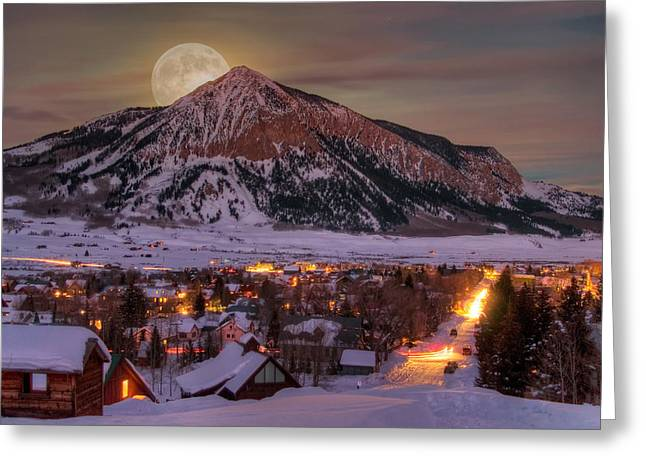 Moonrise Greeting Cards - Big Moon Rising Greeting Card by Dusty Demerson
