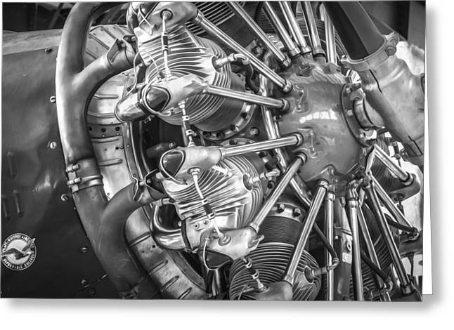 Ford Tri-motor Greeting Cards - Big Motor Vintage Aircraft BW Greeting Card by Rich Franco