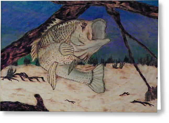 Fish Pyrography Greeting Cards - Big Mouth Greeting Card by Andrew Siecienski