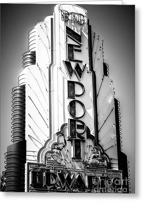 Theatre Photographs Greeting Cards - Big Newport Edwards Theater Marquee in Newport Beach Greeting Card by Paul Velgos