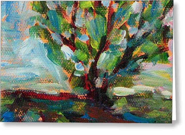 Brushtrokes Greeting Cards - Big Old Tree By The Road Greeting Card by Robie Benve
