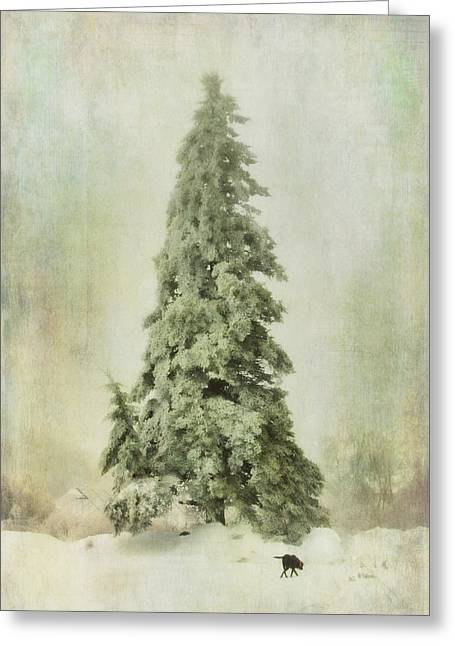 Snow-covered Landscape Greeting Cards - Big Ole Tree Greeting Card by Susan Capuano