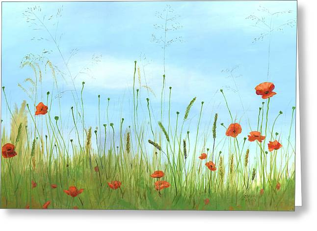 Big orange poppies Greeting Card by Cecilia  Brendel