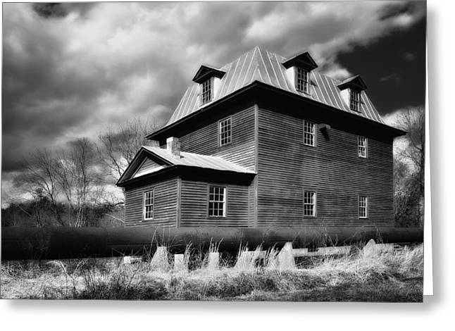 Saw Greeting Cards - Big Otter Mill Ca 1785 bw Greeting Card by Steve Hurt