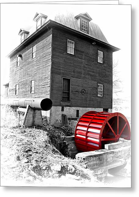 Saw Greeting Cards - Big Otter Mill Wheel Greeting Card by Steve Hurt