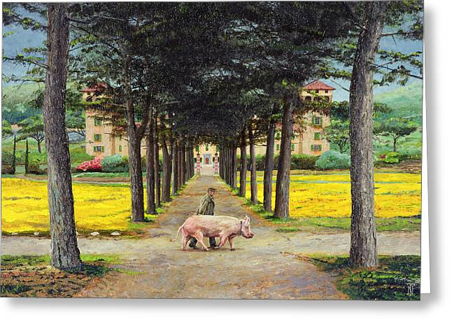 Farmer Photographs Greeting Cards - Big Pig, Pistoia, Tuscany Oil On Canvas Greeting Card by Trevor Neal