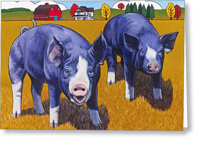 Hogs Greeting Cards - Big Pigs Greeting Card by Stacey Neumiller
