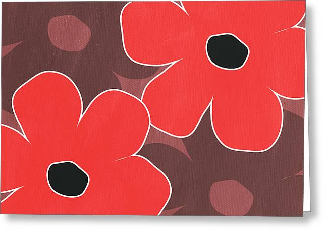 Red Flowers Greeting Cards - Big Red and Marsala Flowers Greeting Card by Linda Woods