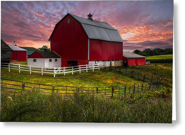 Smoky Greeting Cards - Big Red at Sunset Greeting Card by Debra and Dave Vanderlaan