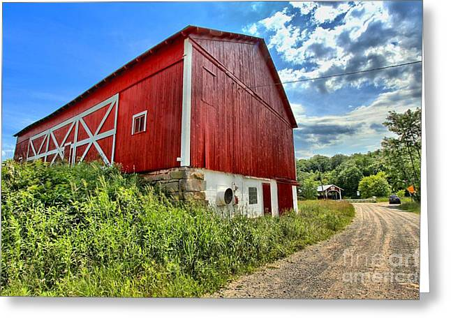 Covered Bridge Greeting Cards - Big Red Barn Greeting Card by Adam Jewell