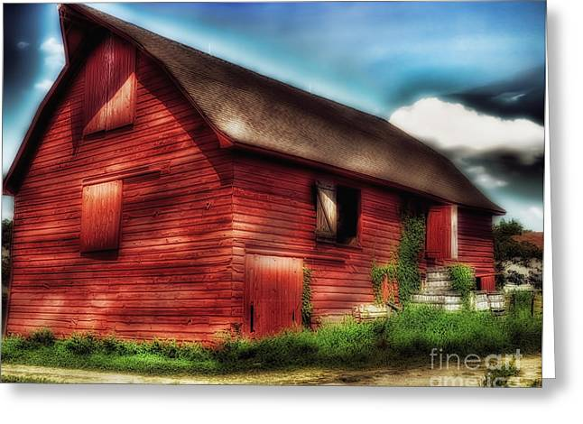 Red Roofed Barn Greeting Cards - Big Red Barn Greeting Card by Arnie Goldstein