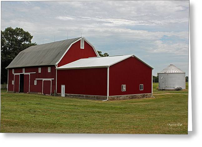 Rural Indiana Greeting Cards - Big Red Barn - Carroll County Indiana Greeting Card by Suzanne Gaff