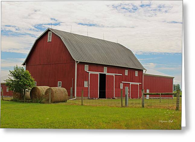 Rural Indiana Greeting Cards - Big Red Barn II - Carroll County Indiana Greeting Card by Suzanne Gaff