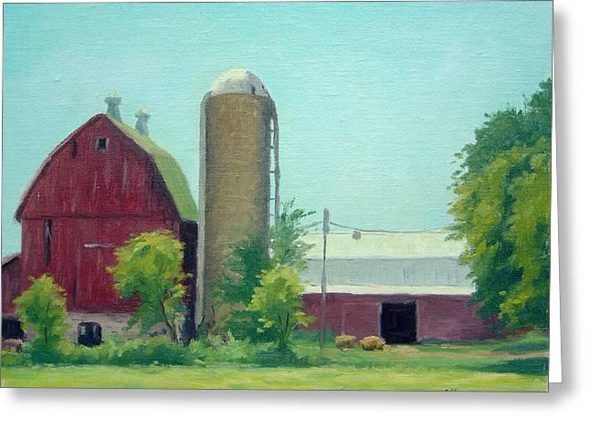 Barn Door Paintings Greeting Cards - Big Red Barn Greeting Card by Rick Hansen