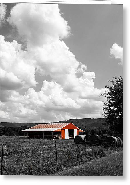 Barn Door Greeting Cards - Big Red Barn Greeting Card by Shelby  Young
