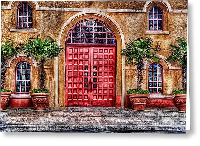 Red Buildings Greeting Cards - Big Red Doors Greeting Card by Arnie Goldstein