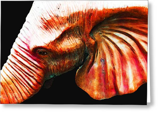 Big Red - Elephant Art Painting Greeting Card by Sharon Cummings