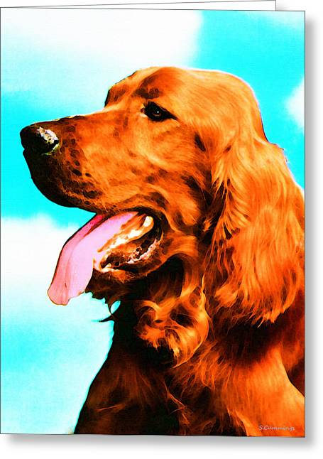 Breeds Greeting Cards - Big Red - Irish Setter Dog Art By Sharon Cummings Greeting Card by Sharon Cummings