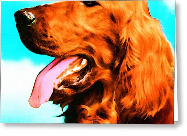 Big Red - Irish Setter Dog Art By Sharon Cummings Greeting Card by Sharon Cummings