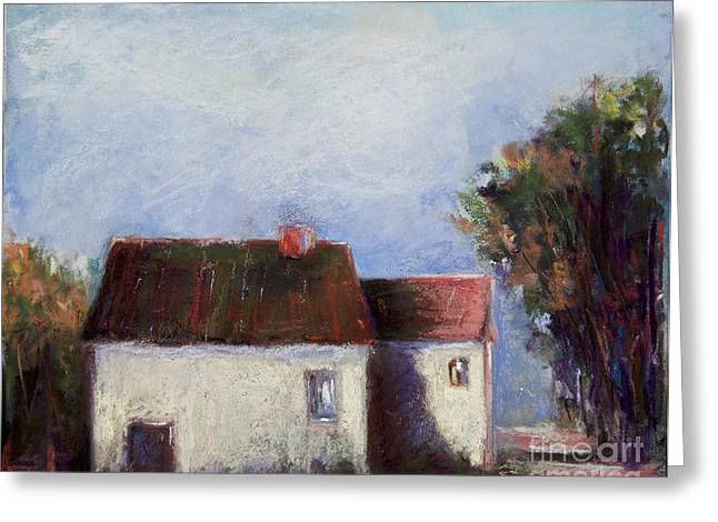 Red Buildings Pastels Greeting Cards - Big Red Greeting Card by Joyce A Guariglia